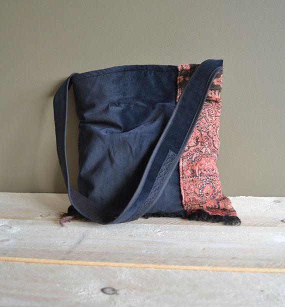 black velvet tote bag - boho fringes tote bag - woven market tote - cross body arty bag