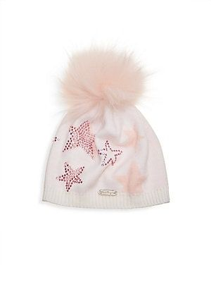 3505ecb647e Bari Lynn Girl s Ivory   Pink Star Hat With Fur Pom Pom
