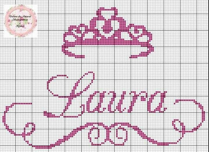 Laura coroa  rosa ponto cruz