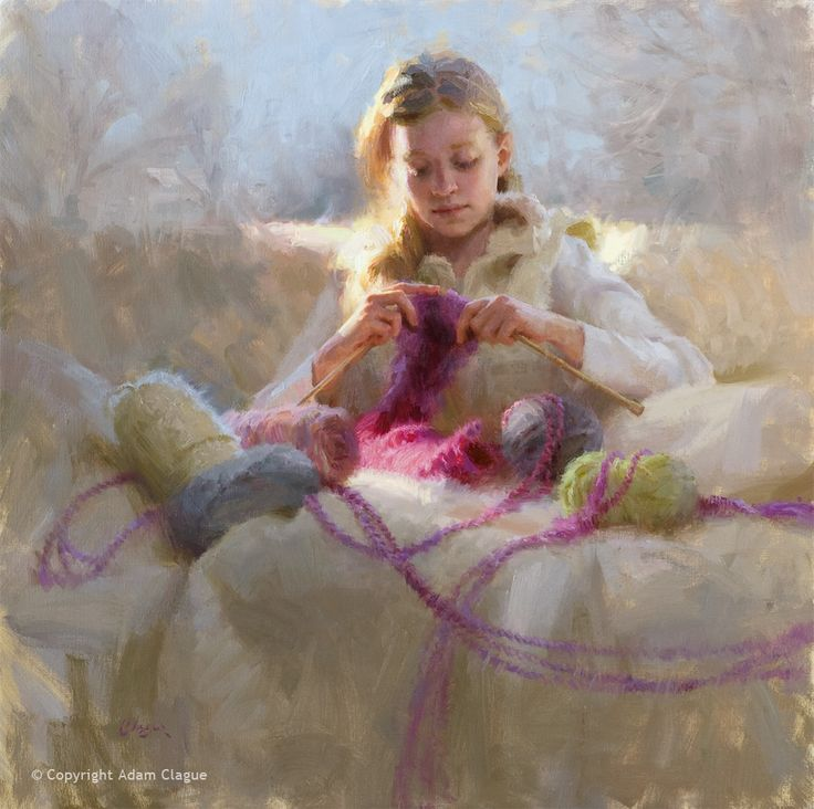 """Knitter's Gift"" by Adam Clague • Oil on linen • 30""x30"" • 2nd Honor Award, 2014 Portrait Society of America Int'l Competition • Available (to inquire, email Contact@AdamClague.com)"