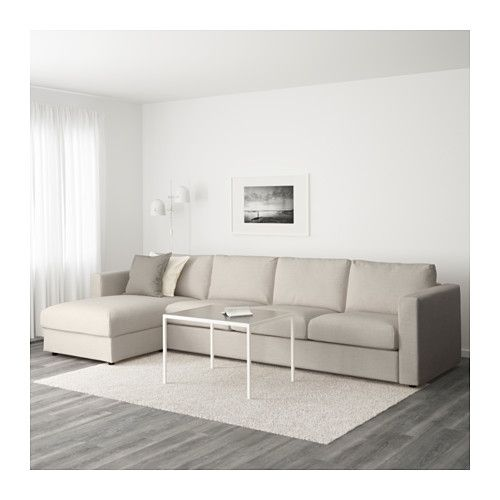 ВИМЛЕ 4-местный диван - с козеткой/Гуннаред бежевый - IKEA