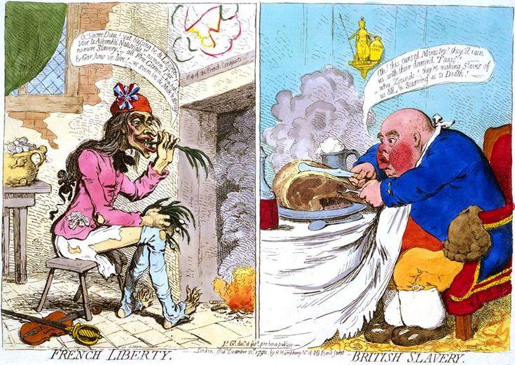 #BastilleDay - French Liberty, British Slavery. Gillray, December 1792.