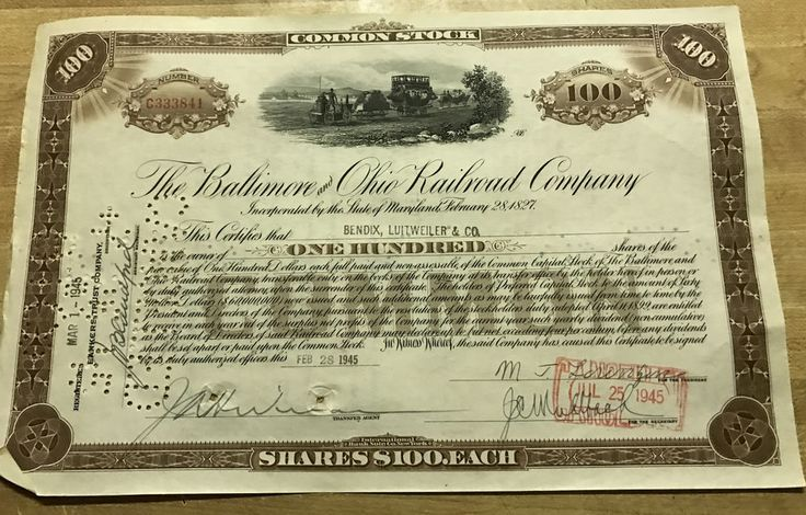 The Baltimore & Ohio Railroad Company Common Stock Certificate 1945