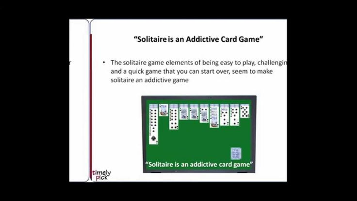 Millions of people around the world have been playing Solitaire card games, but why? The answer in this video by the developers of http://www.timelypick.com/play-solitaire