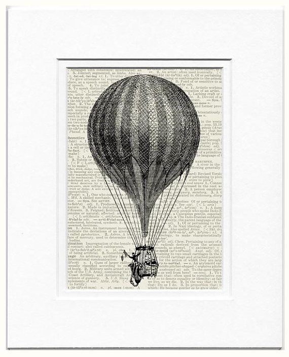 18oo's flying balloon II  printed on old page from by FauxKiss