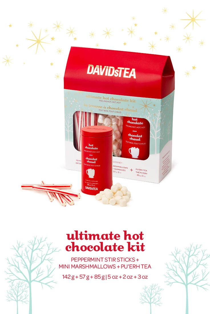 Ultimate Hot Chocolate Kit - Our Hot Chocolate tea, peppermint stir sticks and mini marshmallows.