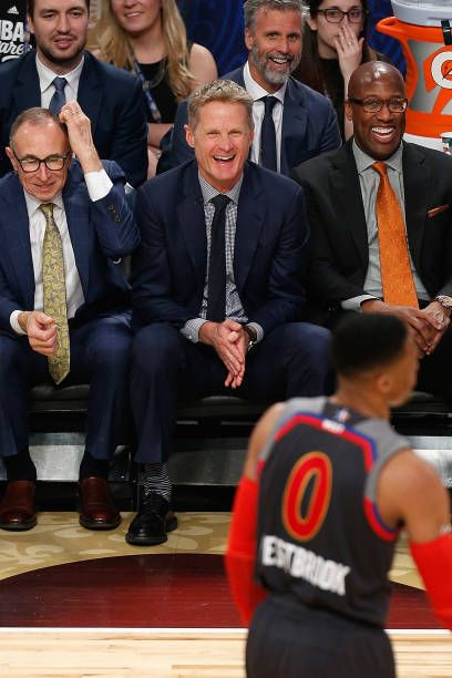Head coach Steve Kerr of the Golden State Warriors reacts during the 2017 NBA AllStar Game at Smoothie King Center on February 19 2017 in New Orleans...