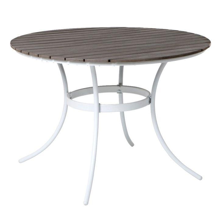 Runt trädgårdsbord som är tillverkat av konstträ och pulverlackerat stål. | Roligare trädgårdsarbete och en trivsammare utemiljö. Välkommen till Jula!