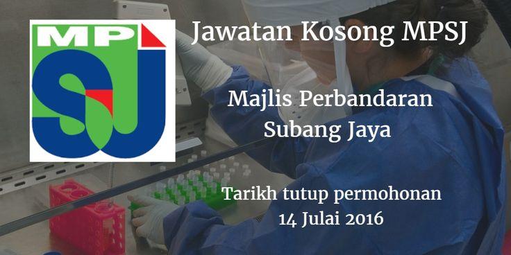 Majlis Perbandaran Subang Jaya Jawatan Kosong MPSJ 14 Julai 2016  Majlis Perbandaran Subang Jaya (MPSJ) mencari calon-calon yang sesuai untuk mengisi kekosongan jawatan MPSJ terkini 2016.  Jawatan Kosong MPSJ 14 Julai 2016  Warganegara Malaysia yang berminat bekerja di Majlis Perbandaran Subang Jaya (MPSJ) dan berkelayakan dipelawa untuk memohon sekarang juga. Jawatan Kosong MPSJ Terkini Julai 2016 : 1. PEGAWAI PERUBATAN UD47/48 2. PEGAWAI VETERINAR GV41 3. JURUUKUR BAHAN J41 4. PEMBANTU…