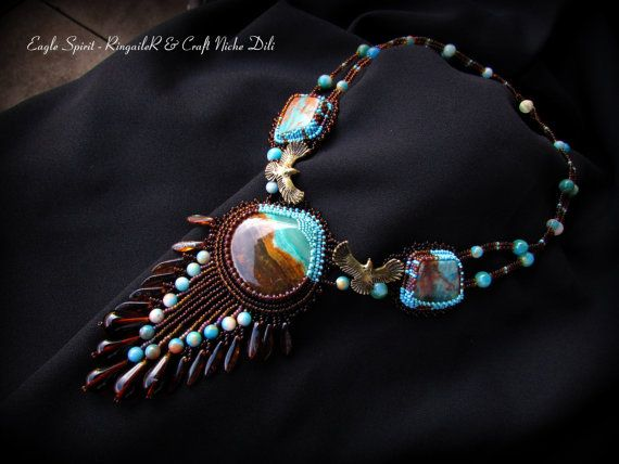 Eagle Spirit necklace - agate, serpentine pendant beads, copper findings, natural stone beads, Czech glass beads, travertine, preciosa and toho beads, magnetic clasp and leather backing.