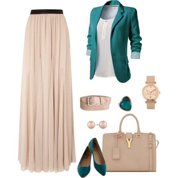 """Long skirt. Beige & teal. Casual blazer."" by harmoniq on Polyvore"