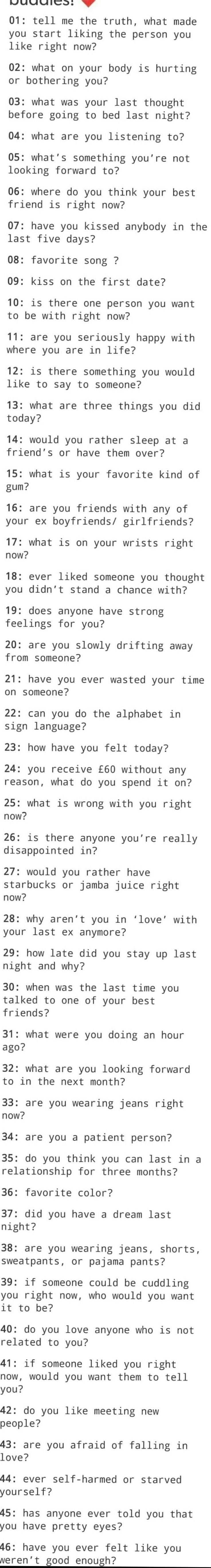 46 things to ask in a conversation starter, question