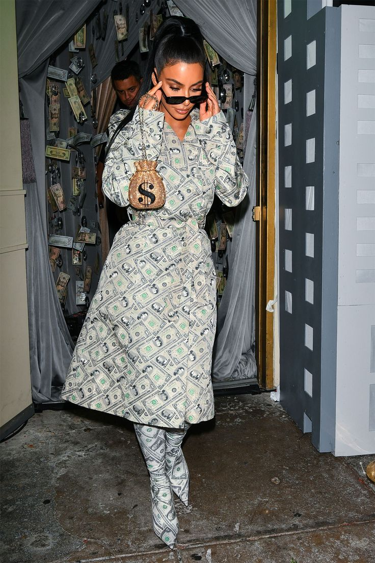 Fashion Jackpot! Kim Kardashian's Dollar Bill-Covered Trench and Boots Is Right on the Money