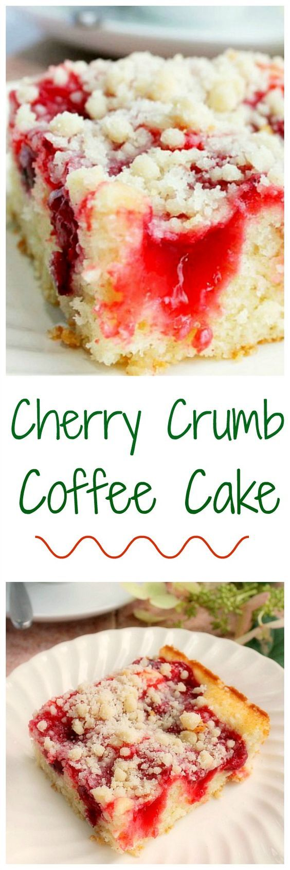 Cherry Coffee Cake with Crumb Topping -- a delicious and easy coffee cake! bunnyswarmoven.ne...