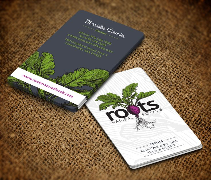 business cards - 2014 pantone Roots Natural Foods needs a new unique amazing business card Business card design #162 by pecas