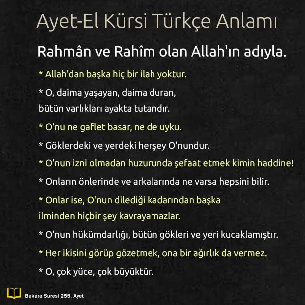 Ayetel Kursi Arapca Okunusu Turkce Anlami Ve Faziletleri Ilham Verici Sozler Mizah Alintilari Dualar