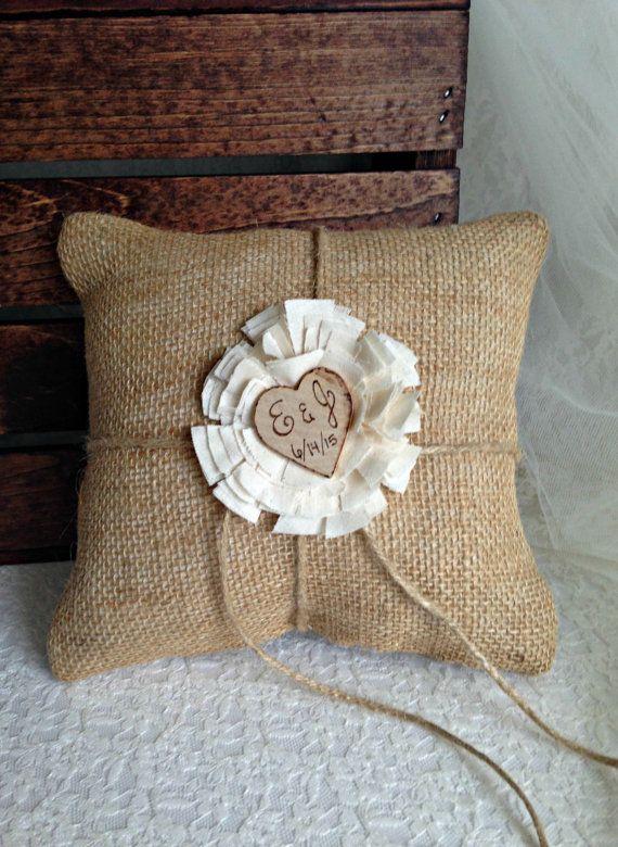 Ring Bearer Pillow Wedding Ring Pillow Burlap Ring by MoreThanLace