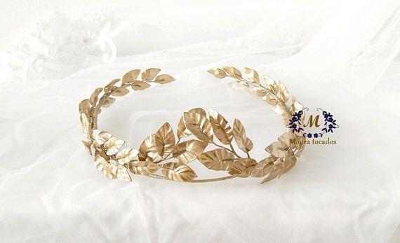 Goteo Colega busto  Corona de hojas dorada corona helénica tiara griega corona   Wedding  accessories, Wedding jewelry, Jewelry