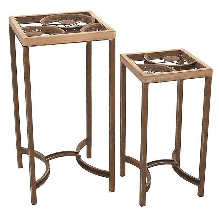 S/2 METAL /GLASS FLOWER STAND IN BROWN COLOR 35X35X70 - Flower Stands - FURNITURE