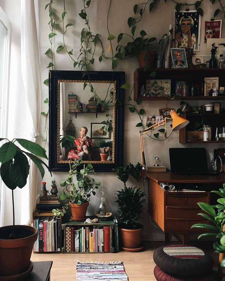 """19.4k Likes, 110 Comments – Urban Jungle Bloggers™ (@urbanjungleblog) on Instagram: """"Dress your home office in plants and feel more creative! Bonu…"""