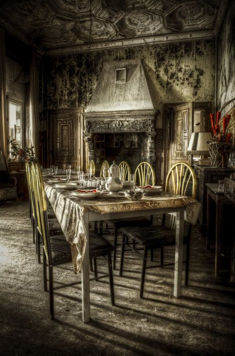 179 best haunting images on pinterest abandoned places for Haunted dining room ideas