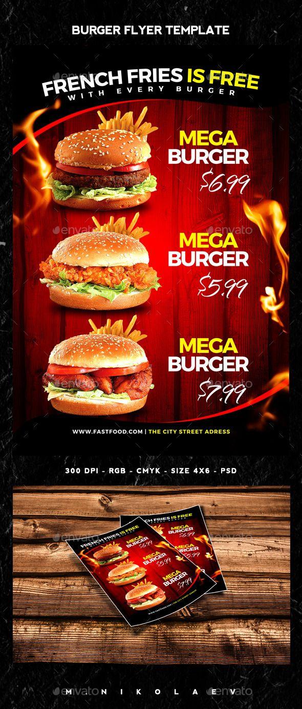 Burger Flyer Template PSD #design Download: http://graphicriver.net/item/burger-flyer/12836219?ref=ksioks