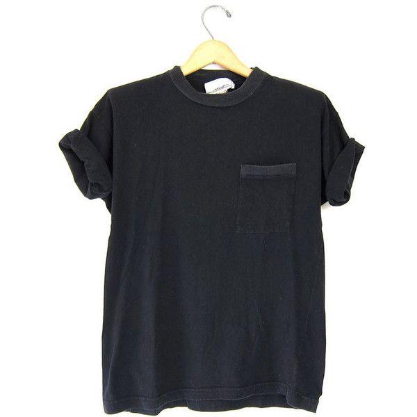 Vintage Plain Tshirt Black Basic Boxy Tee Simple Everyday Crewneck 80s... (€20) ❤ liked on Polyvore featuring tops, t-shirts, shirts, t shirts, crewneck t shirt, 80s shirts, tee-shirt, vintage 80s t shirts and t shirt