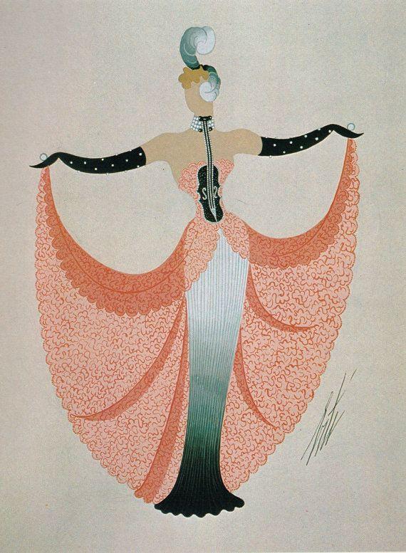 Erté Print, Art Deco Dress Design Vintage Art Paper Ephemera Original Print. Sumptuous Eye Catching Orange