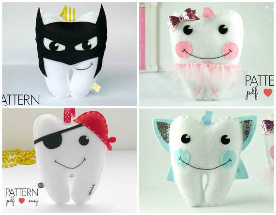 Batman Tooth Pillow Sewing Pattern Felt Pattern by MaisieMooNZ