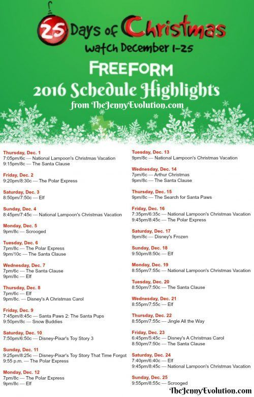 FREE Printable 2016 25 Days of Christmas Schedule Highlights for your favorite Christmas Movies and Television Shows! Now of Freeform (used to be ABC Family)