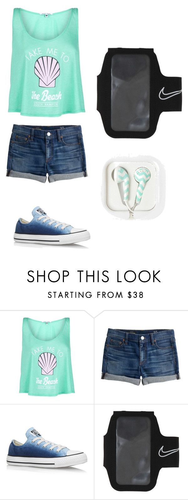 """Beach Day"" by chloejmo on Polyvore featuring Wildfox, J.Crew, Converse and NIKE"