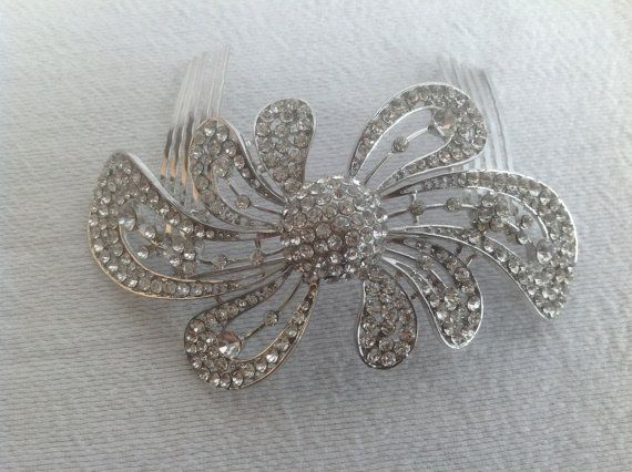 Bridal Hair Brooch Comb  Glamour Couture Line by ChiKaPea on Etsy, $52.00