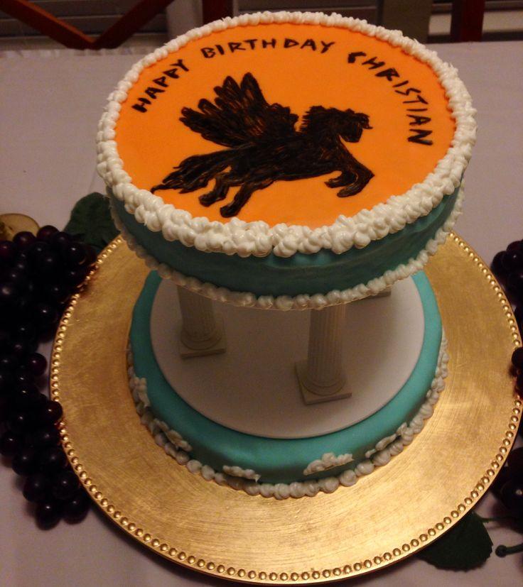 Percy Jackson Birthday Cake!----> want! Plus I'm wearing my camp shirt!