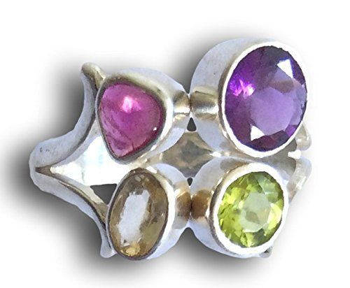 Jewelry With Soul Multi Gemstone 925 Sterling Silver Ring Size R