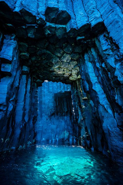 Sea cave in a small abandoned island, Sijiy Island. In Penghu, Taiwan.