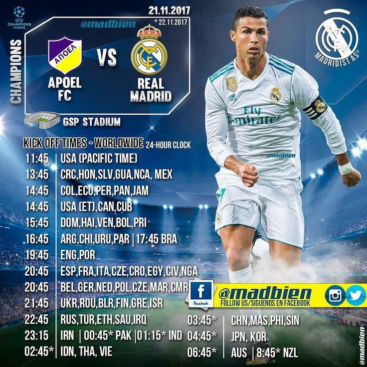 Horarios  APOEL  Champions League  21/11/17  GSP Stadium  Canales #USA Fox Sports #Centroamérica Fox Sports #México Fox Sports #Sudamérica Fox Sports #España: Movistar  TV3 Antena 3