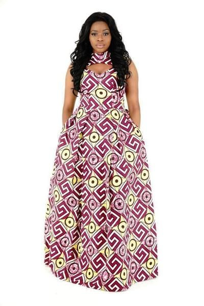 "The Delta African maxi dress is fully lined and has a 120 cm/48"" in length (from waist down). The dress has a back-zip and 2 side pockets. CARE INSTRUCTIONS: Dry Clean ONLY, DO NOT BLEACH, Hang dry, Press with cool iron on the wrong side only."