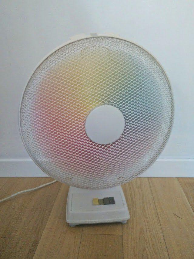 Rainbow spray painted fan