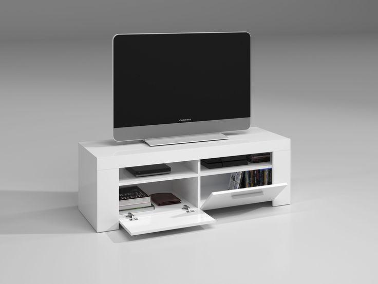 Habitdesign (006621BO) - Mueble de comedor moderno , Color blanco brillo, dimensiones 120 cm de ancho x 42 cm de profundidad x 40 cm de altura