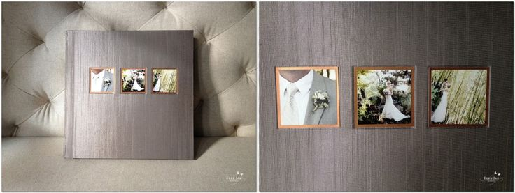 This 3500 has Taupe Japanese book cloth. The three cover photos are mounted in the optical center position and mounted on a copper liner. (Source: http://ellejae.com/not-weddings/lovely-new-album/)