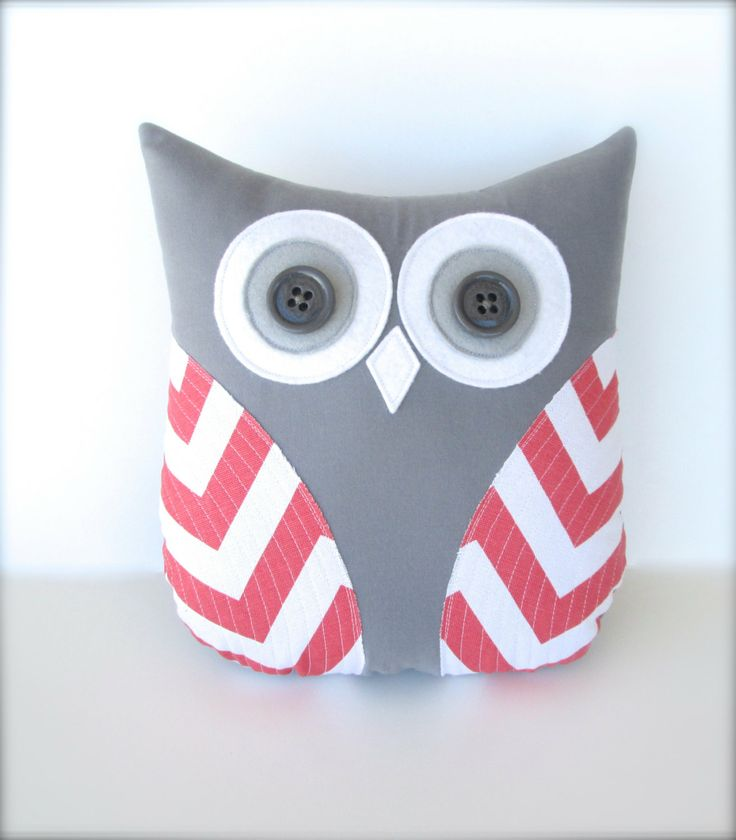 decorative coral and white owl, plush owl pillow, chevron coral nursery decor