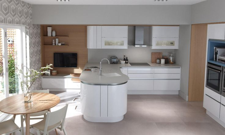 Стильная современная белая кухня