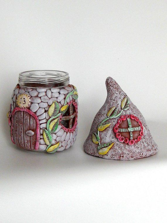 polymer fairy house out of a jar