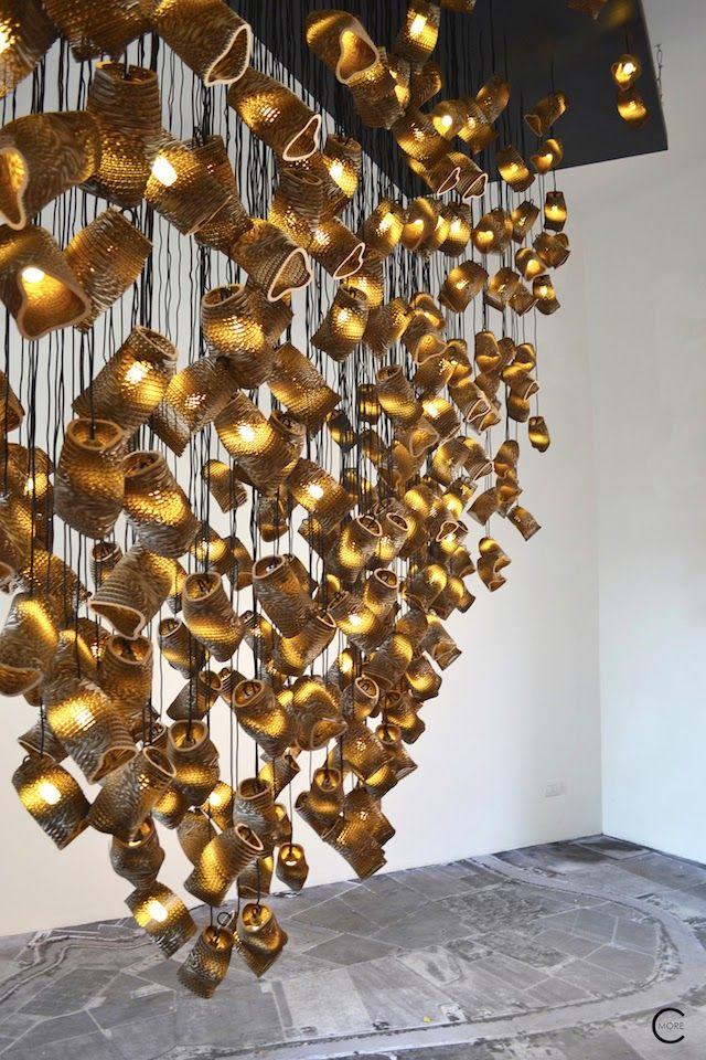 Graypants Scraplights | Design week Milan 2015 | lighting | illumination lampen van hergebruikt karton | verlichting en armaturen photo's © C-More