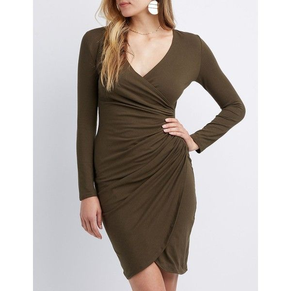 Charlotte Russe Surplice Bodycon Wrap Dress ($15) ❤ liked on Polyvore featuring dresses, olive, ruched wrap dress, ruched bodycon dress, long sleeve bodycon dress, brown bodycon dress and brown dresses