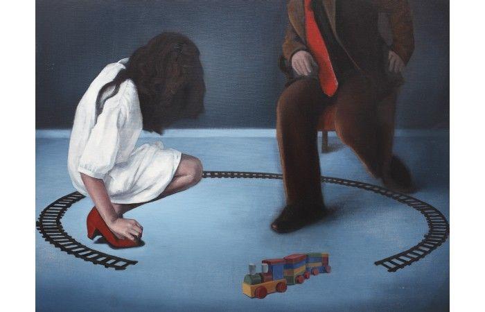 LOT 51  RADU RODIDEAL Battlefield [2013] Oil on canvas 63 × 80 cm (24.8 × 31.5 inch) Estimate €700 - €1,200  #lavacow #contemporary #art #rodideal