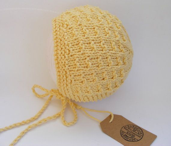 Cotton Baby Bonnet Knitted Baby Hat Yellow by WoollywonderKnits