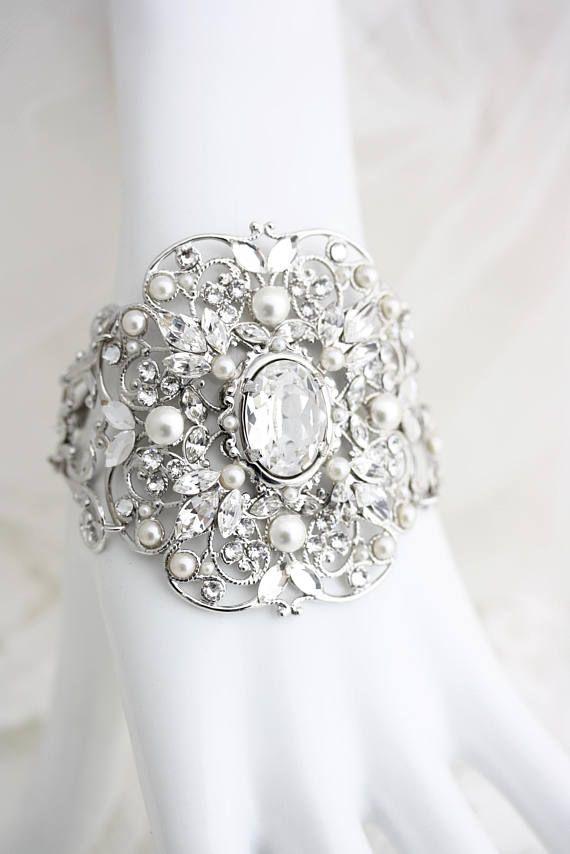 f3260bf90 Bridal Cuff Bracelet Bridal Bracelet Wide Cuff Silver Crystal Cuff Wedding  Jewelry Swarovski Crystal Bracelet Vintage Style Bracelet