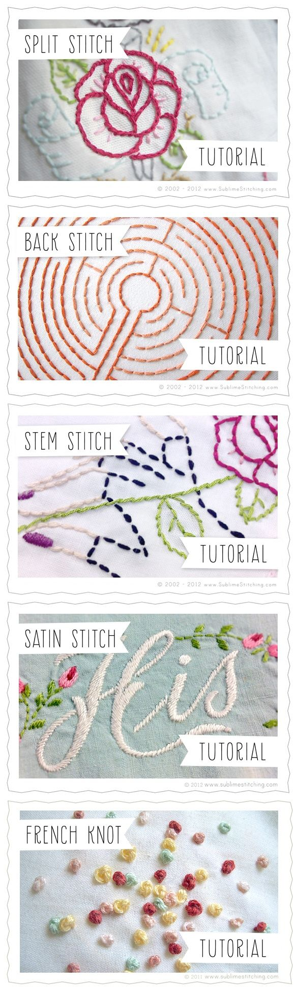 Embroidery Stitches Tutorials {Sublime Stitching} Split Stitch, Back Stitch, Stem Stitch, Satin Stitch, French Knot