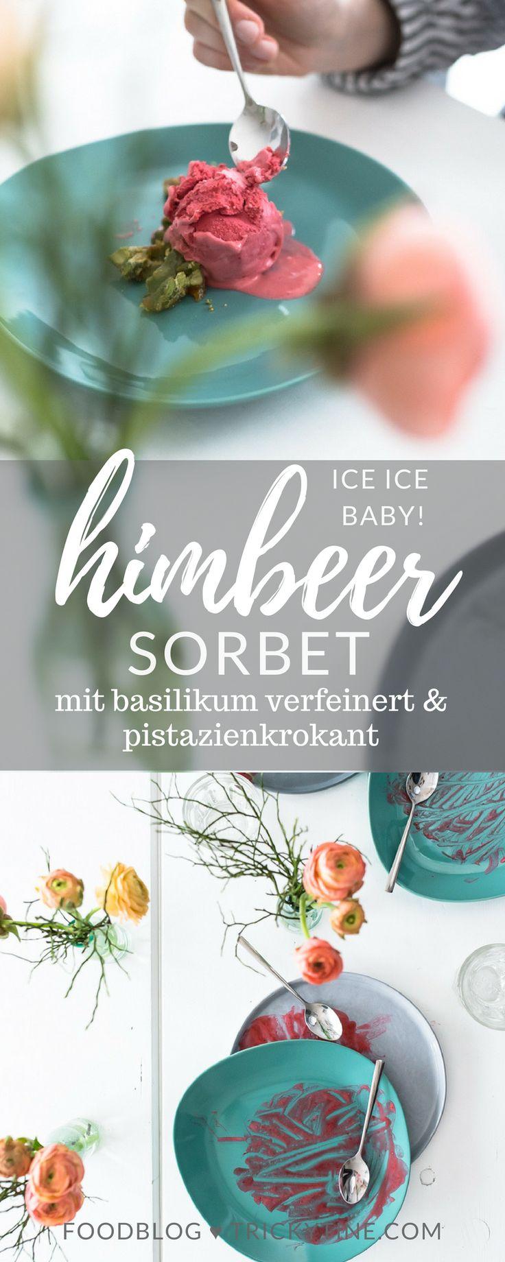 rezept für super leckeres himbeersorbet mit basilikum und pistazienkrokant ♥ trickytine.com